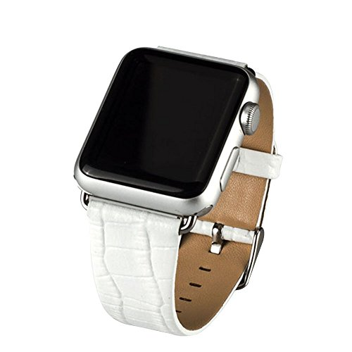 Cuitan Langlebig Leder Uhrenarmband für 38mm Apple Watch iWatch, Krokodil Muster mit Adapter Stahl Schließe Ersatzband Uhrband Watch Strap Wrist Band Armband Watchband für Apple Watch - Weiß (Nicht enthalten Uhren) (Echte Zubehör Stella)
