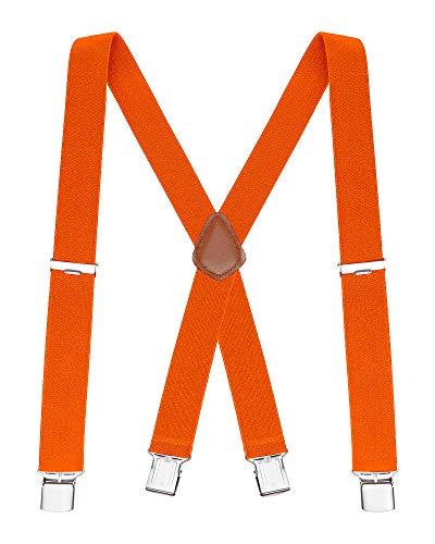 Buyless fashion bretelle a x posteriore da uomo regolabili ed elastiche 1,2 metri - larghe 3 cm - ganci metallici-5114 colore: orange