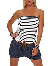 Malito Damen Einteiler kurz im Marine Design   Overall mit Gürtel   Jumpsuit  im Jeans Look d6dd1292b6