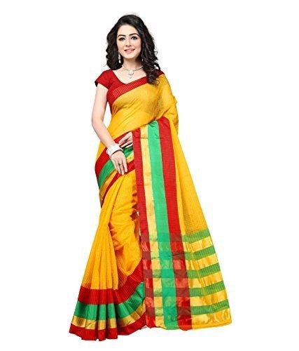 Kiranz Web Store Women's cotton Silk Saree With Blouse Piece(kirz web store)...