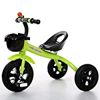 BABYGAMK Children Toddler Tricycle Tricycle 3 Wheeler Smart Design Children Bicycle Bike Boys Girls Baby Carriage Toy Car Trike Kid 3 Wheels (Color : Green , Size : 57*68cm )