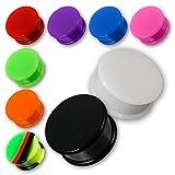 Fly Style® Silikon Ohr Plug Flesh Tunnel Top Hat - 11 Farben & viele Größen (4-30 mm) pgmix012_Pair