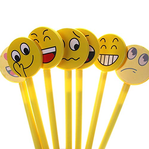 WODBI 20Pc Creativo Emoji Sorriso Penna Gel 0.38Mm Nero Gel Penne Inchiostro Ufficio Materiale Scolastico