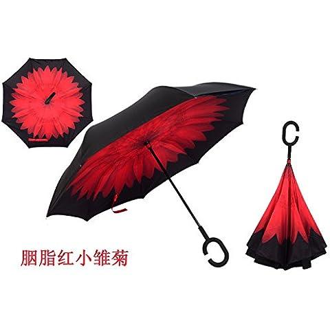 Marcha atrás Paraguas Cartabón reverso De pié de doble barra larga recta mango paraguas automático abierto anti reversa paraguas paraguas ,Carmine