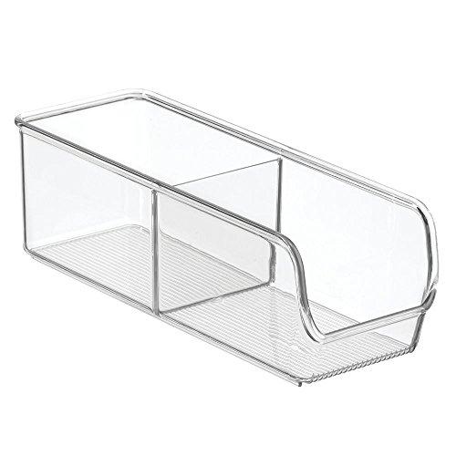 InterDesign Linus Aufbewahrungsbehälter, kleiner Küchen Organizer aus bruchsicherem Kunststoff mit zwei Fächern, durchsichtig (Organisation-boxen)
