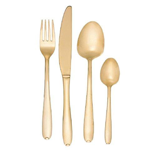 24pc Set di posate in acciaio inox placcato oro Glamour