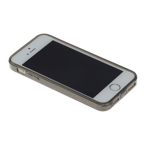 doupi PerfectFit Case iPhone 5 5S SE avec intégrés dans les bouchons de poussière TPU housse de protection Coque Pare-chocs Cover, clair noir Noir