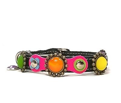 Design Katzenhalsband mit Sicherheitsverschluss | Fröhliches Band mit Farbigen Leder und Polaris Steine