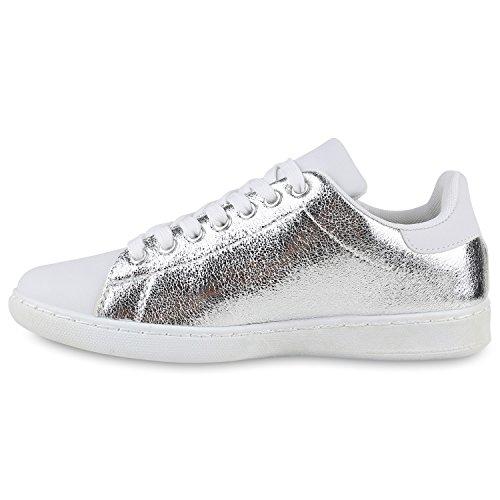 Damen Sneakers | Sneaker Low Metallic Cap | Sportschuhe Leder-Optik Glitzer | Freizeit Schnürer Prints Samt | Trainers Allyear Silber Carlet