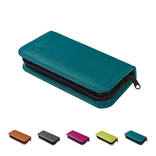 Homöopathische Taschenapotheke für Globuli, leer, Globuli-Tasche für 24 Globuli-Röhrchen (Glas), handgemacht aus echtem Leder (petrol-blau)
