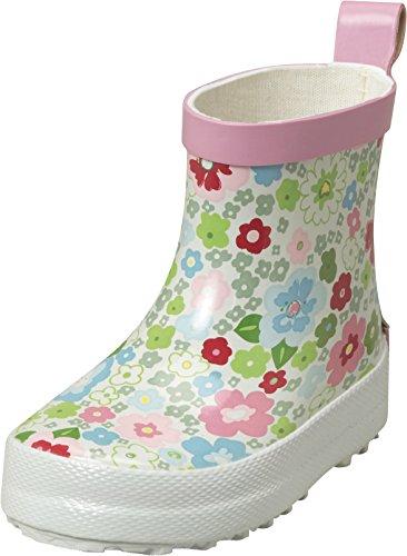 Playshoes Kinder Halbschaft-Gummistiefel aus Naturkautschuk, trendige Unisex Regenstiefel mit Reflektoren, mit Blumen-Muster, Mehrfarbig (1-weiß), 26 EU