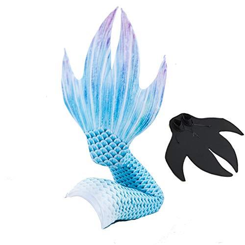 Meerjungfrauenschwanz Bikini Mädchen Kinder Schwimmfähig Kostüm Badeanzug zum Mermaid Cosplay 6stk (Mit Monoflosse),Blue,115~125cm