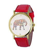 Bluester Watch,New Women Elephant Printing Pattern Weaved Leather Quartz Dial Watch (Red)