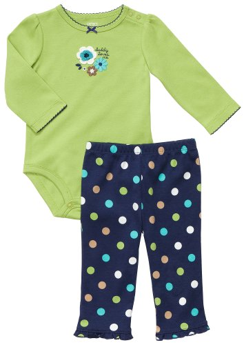 Carter's Langarmbody + Legging Set 50/56 US SIZE newborn girl Outfit Mädchen 2 teilig Blumen grün Girl Carters Legging