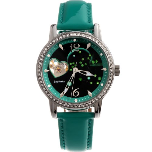Time100 Constellation-series-Sagittarius Genuine Leather Strap Automatic Mechanical Ladies Watch #W80050L.09A