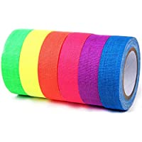 SooFam Glow in The Dark Tape 6 Pack Colored Luminous Masking Tape, Party Supplies Light up Party Favors UV Blacklight Reactive Kids Craft Set Fluorescent Cloth Tape Assorted, 0.59inch x 16.4ft