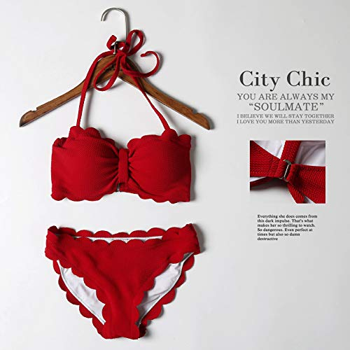 WXNLEAI Große bikinii Badeanzug weibliche Split sexy kleine Brust versammelten koreanischen Studenten kleinen Duft Spitzen Bikini, M, weinrot