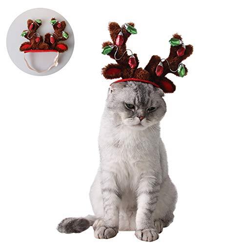 Für Hunde Antlers Kostüm - Romote Nette Katze Haustiere Weihnachten Antlers HeadHoop Kleintiere Festival Kostüm Hut für Mini Hundewelpen, entzückende und niedliche, L