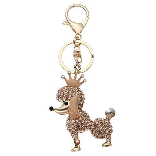Zibuyu Shining Women Girl Crown Dog Rhinestone Glitter Car Key Chain Pendant/Gold