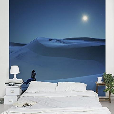 Papier peint intissé Premium - Full moon over the desert - Mural Carré papier peint photo intissé tableau mural photo