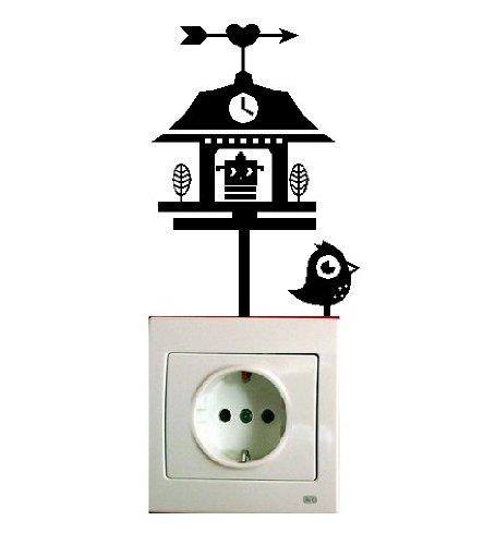 Vinilo decorativo pegatina pared, para interruptor o enchufe (Varios colores a elegir) pajaro