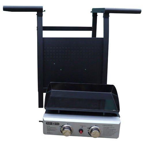 MasterBBQ Plancha de gas de acero esmaltado, 2 quemadores acero inox, para exteriores, 46cm x 35cm