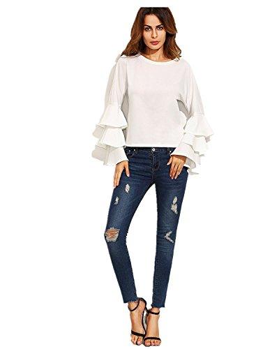 StyleDome Femme Chemise Point Col Rond Manches Longues Casual Elégante Tunique Shirt Haut Tops Blanc561896