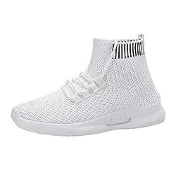 HEETEY Turnschuhe für Herren, Mesh-Sneakers für Damenmode Lässige elastische Socken Schuhe Student Laufschuhe High-Top Freizeitschuhe elastische Socken Schuhe