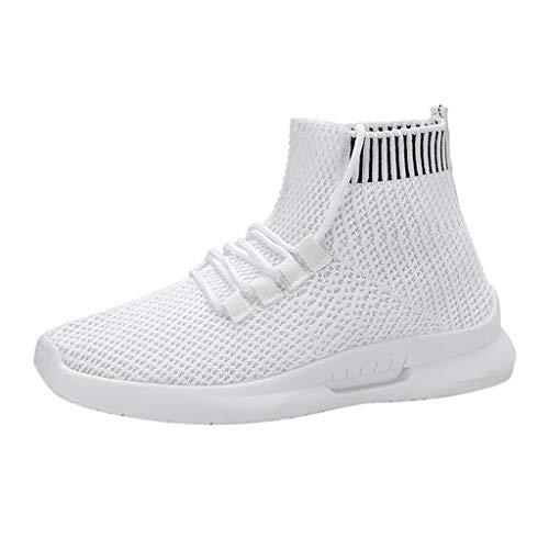 COZOCO Frauen Casual Mesh Turnschuhe Mode elastische Socken Schuhe Student Laufschuhe(weiß,38)
