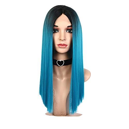 Perücke 18 Zoll Synthetische Lace Front Hochtemperaturfaser Haar Dunkle Wurzeln Zu Blau Farbe Hand Gerade Mode Dame/Frauen