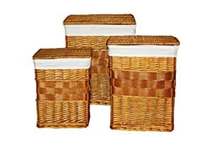 Premier Housewares Rectangle Split Willow Laundry Baskets with Cotton Liners. Set of 3. Honey