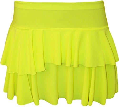 Women's Neon Yellow Rah Rah (5 Colours Available) Frilled Party Short Skirt - Size 8 to 14