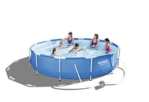 Bestway Steel Pro Frame Pool Set rund, mit Kartuschenfilterpumpe, 366x76 cm, blau