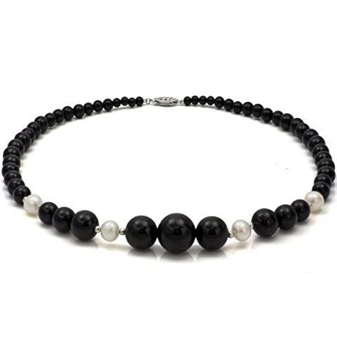 Sterling Silver 4-16mm Graduated Simulated Onyx 8-8.5mm White Freshwater Cultured Pearl Necklace 18 by La Regis