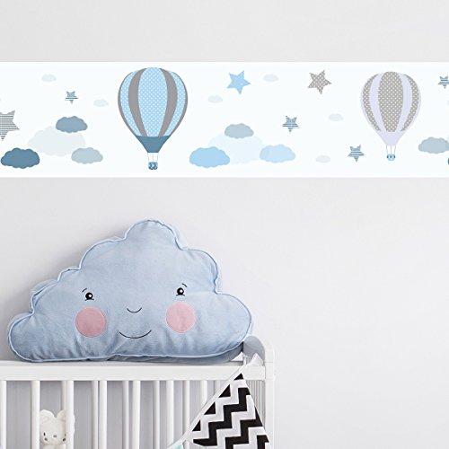 Wandkings Bordüre - Wähle ein Motiv - Heißlufballons Blau - 3x selbstklebende Wandbordüren je 150 cm - Gesamtlänge: 450 cm - Höhe: 12,5 cm