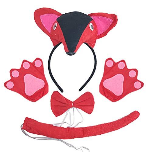 Amosfun Kinder Fuchs Kostüm Set Haarheif Fliege Handschuhe Schwanz Party Tier Kostüm Schmuck Zubehör 5 (Fox Kostüm Kleinkind)