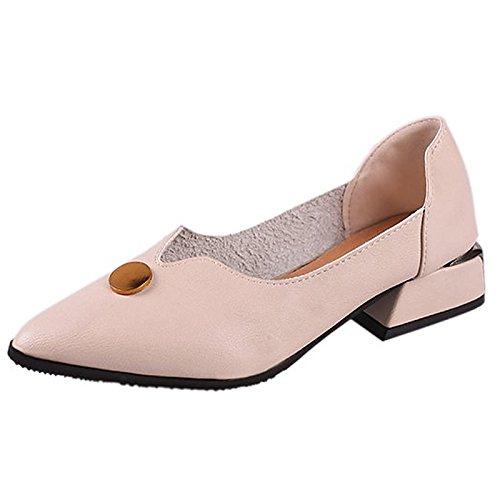 Dimaol Chaussures Femmes Pu Printemps Talons Confort Chaussures À Talon Bas Round Toe Rivet Pour Casual Lumière Brun Noir Beige Beige