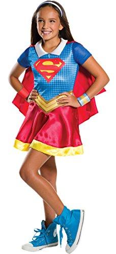 Confettery - Mädchen Kostüm Karneval Supergirl Kleid Heldin, Mehrfarbig, Größe 128-140, 8-10 Jahre
