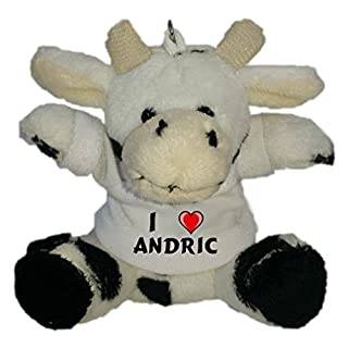 Shopzeus Plush Cow Keychain with I Love Andric (first name/surname/nickname)