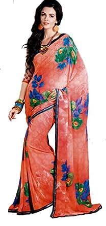 Angan Orange Printed Saree