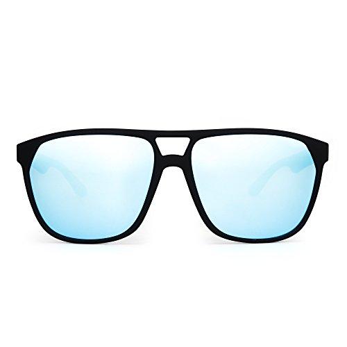 JIM HALO Polarisiert Flach Top Flieger Sonnenbrille Leicht Gewicht Gespiegelt Brille Damen Herren(Matt-schwarz/Polarisiertes Blau
