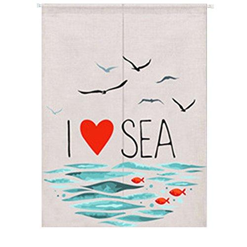 Liveinu tenda per porta anteriore in lino noren giapponese tende classiche e drappeggi tappezzeri con barre di tensione amo il mare 85 x 120 cm