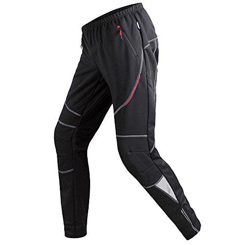 Fitsund Herren Fahrradhose Lang Winter Radhosen Fleece MTB Hose ( Schwarz, XL )