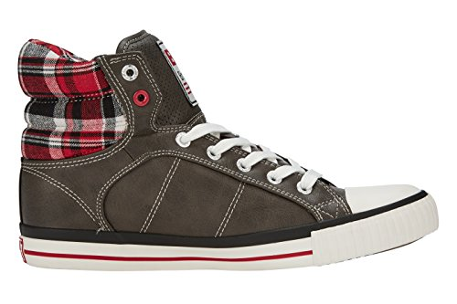 British Knights Unisex-Kinder Atoll High-Top GRIS FONCÉ/ROUGE