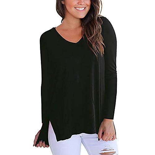 KingProst-Herbst Langarmshirt Damen V Ausschnitt T-Shirts SchöNe Oberteil Frauen Elegant Locker Blusen Langarm Hemd Einfarbige Pullover Stretch Tunika