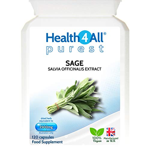 Health4All Sage Strong 2500mg 120 Capsules (V) | Purest: no additives Capsules (not Tablets) | Works for Hot Flushes, Night Sweats and Menopause Symptoms | 100% Vegan
