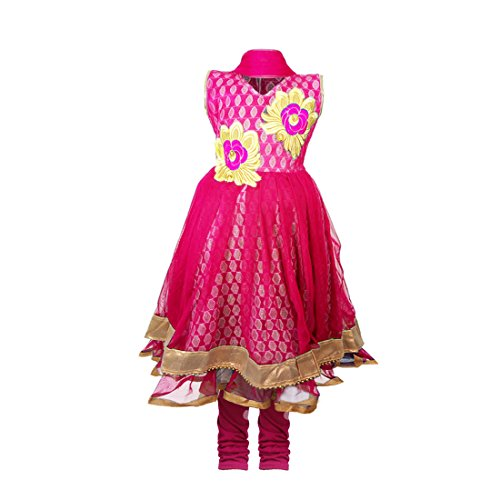 JBN Creation Girls Pink Kurti And Leggings Set With Gold Floral Embroidery...