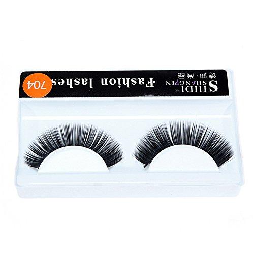 ✿Higlles 1 Paires de Long Croix Faux Cils Maquillage Naturel 3D Faux Épais Noir Eye Lashes