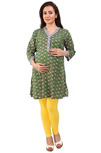 MomToBe Women's Cotton A-Line Maternity Kurti, Green