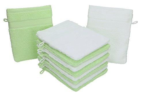 BETZ 10 Guanti da Bagno manopola Palermo 100% Cotone Misure 16 x 21 Colore Bianco e Verde